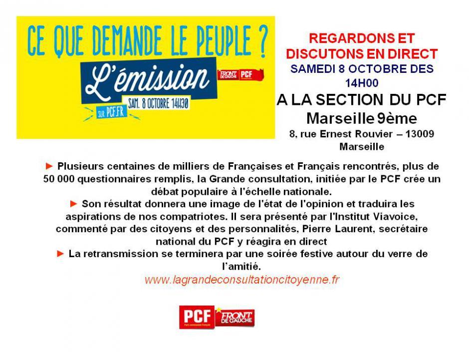 Le samedi 8 octobre à 14 Heures, le PCF Marseille 9ème vous donne la parole